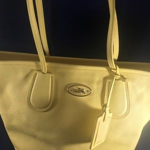 Coach Yellow Crossgrain Taxi Zip Leather Tote